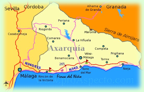 map of Axarquia at Costa del Sol (Andalucia)