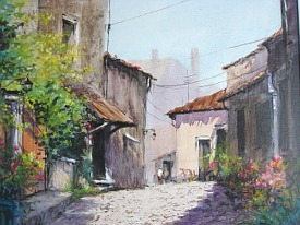 watercolour painting of an old street in the sun by painting tutor Art Cunanan