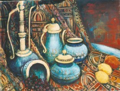 watercolour painting of a Morrocan still life by painter and tutor Olivia Garner