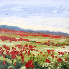 painting of a field with flowers by painter Peter Keegan
