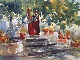 watercolour painting by painting tutor Doug Mays way in Axarquia