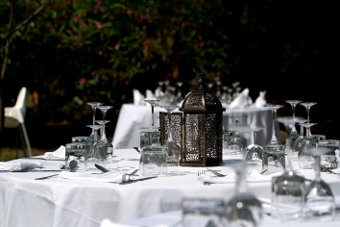 Wedding ceremony with fine table decoration