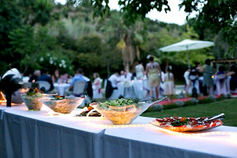 Salad buffet for the wedding guests in garden party