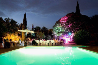 Wedding Party in the garden with lightshow and pool